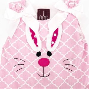 Baby Girl Pink & White Bunny Dress Size 12-24 Mo